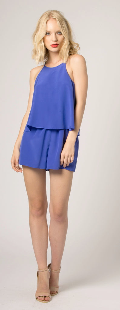 Turin Blue Overlay Jewel Neck Silk Romper by Lavender Brown 001