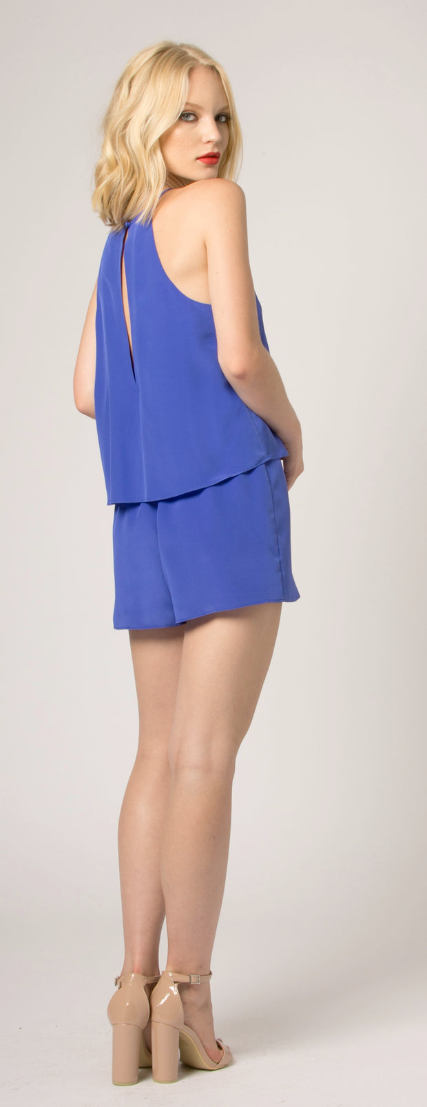 Turin Blue Overlay Jewel Neck Silk Romper by Lavender Brown 002