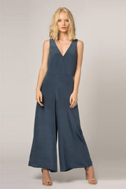 Denim Blue Wide Leg Silk Jumpsuit by Lavender Brown 001