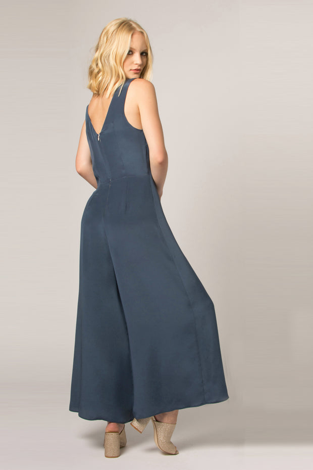 Denim Blue Wide Leg Silk Jumpsuit by Lavender Brown 002