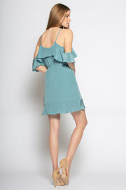 Dusty Slate Blue Cold Shoulder Silk Ruffle Wrap Dress by Lavender Brown 002