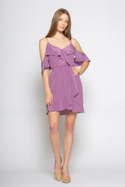 Dusty Violet Cold Shoulder Silk Ruffle Wrap Dress by Lavender Brown 001