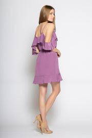 Dusty Violet Cold Shoulder Silk Ruffle Wrap Dress by Lavender Brown 002