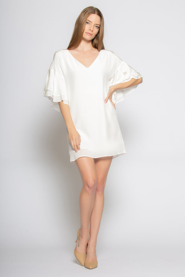 Ivory Ruffled Bell-Sleeve Silk Dress by Lavender Brown 001