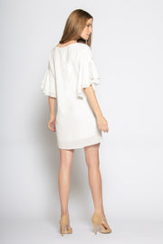 Ivory Ruffled Bell-Sleeve Silk Dress by Lavender Brown 002