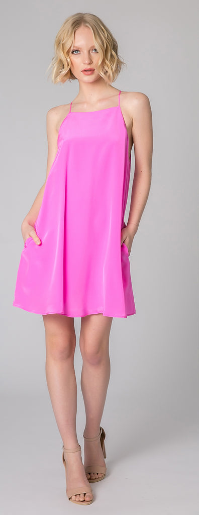 Bright Peony Sleeveless Silk Dress by Lavender Brown - 1
