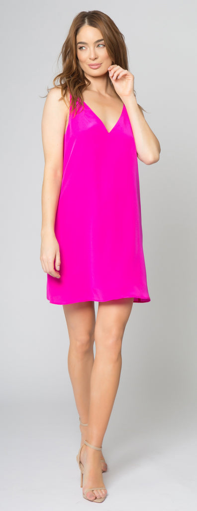 Neon Pink Silk Cami Dress by Lavender Brown 001