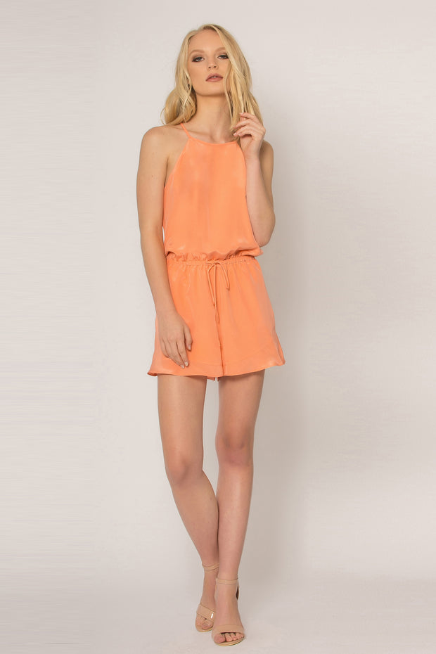Cantaloupe Sleeveless Tie Waist Silk Romper by Lavender Brown 001
