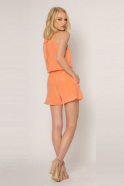 Cantaloupe Sleeveless Tie Waist Silk Romper by Lavender Brown 002