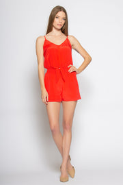 Coral Red Sleeveless Tie Waist Silk Romper by Lavender Brown 001