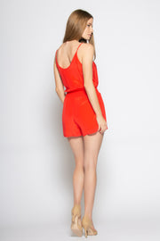 Coral Red Sleeveless Tie Waist Silk Romper by Lavender Brown 002