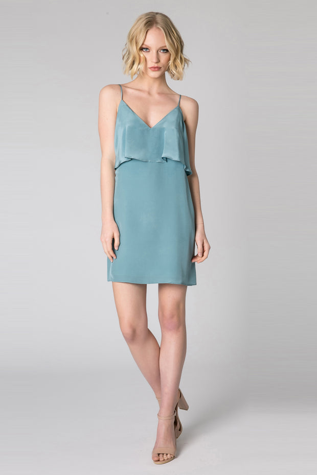 Slate Blue Ruffle Overlay Silk Dress by Lavender Brown 001
