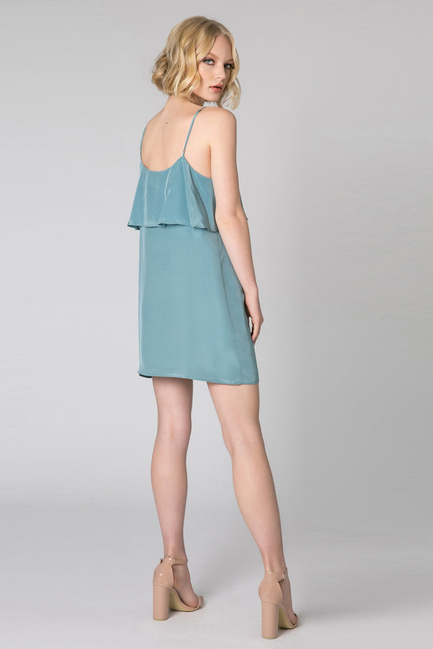 Slate Blue Ruffle Overlay Silk Dress by Lavender Brown 002