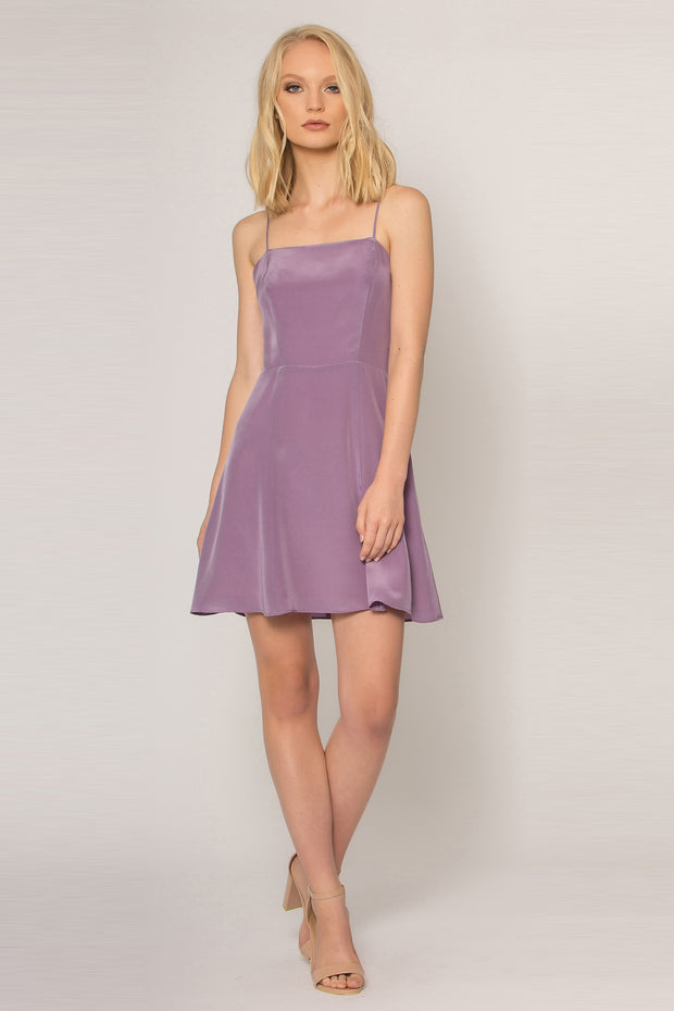 Lavender Backless Silk Shift Dress by Lavender Brown 001