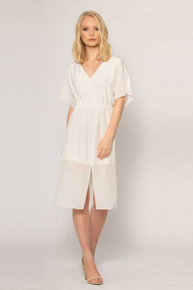 Ivory Short Sleeve Silk Midi Dress by Lavender Brown 001