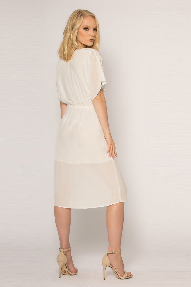 Ivory Short Sleeve Silk Midi Dress by Lavender Brown 002