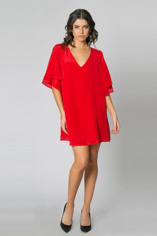Red Short Sleeve Silk Dress by Lavender Brown 001