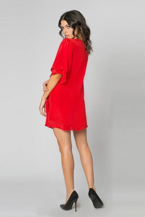 Red Short Sleeve Silk Dress by Lavender Brown 002