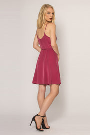 Purple Sleeveless Silk A-Line Dress by Lavender Brown 002