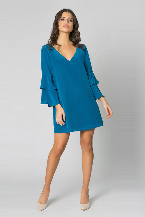 Persian Teal Long Sleeve Silk Shift Dress by Lavender Brown 001
