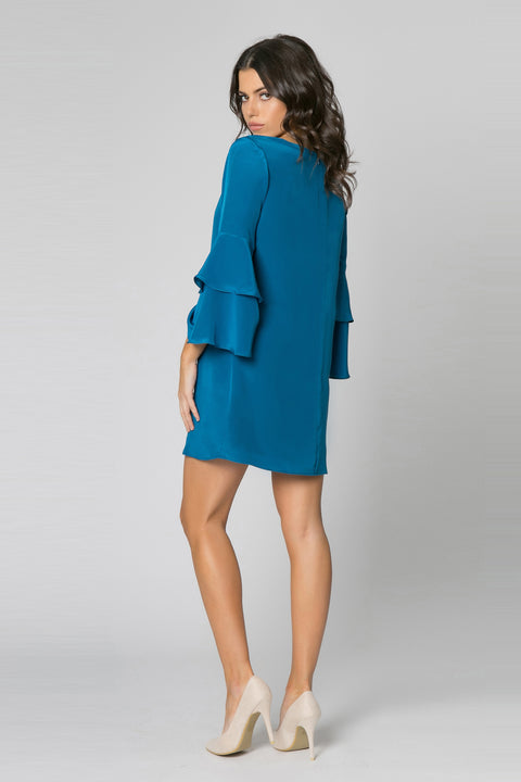 Persian Teal Long Sleeve Silk Shift Dress by Lavender Brown 002
