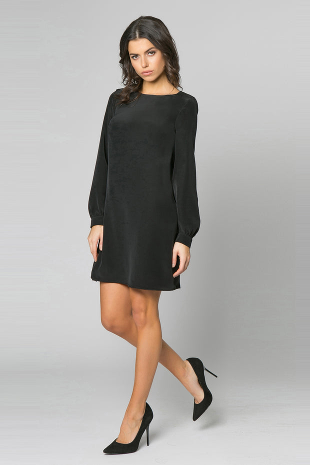 Black Long Sleeve Silk Shift Dress by Lavender Brown 001