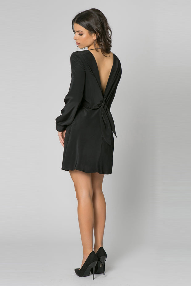 Black Long Sleeve Silk Shift Dress by Lavender Brown 002