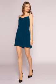 Persian Teal Silk Mini Slip Dress by Lavender Brown 001