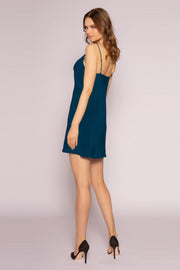 Persian Teal Silk Mini Slip Dress by Lavender Brown 002