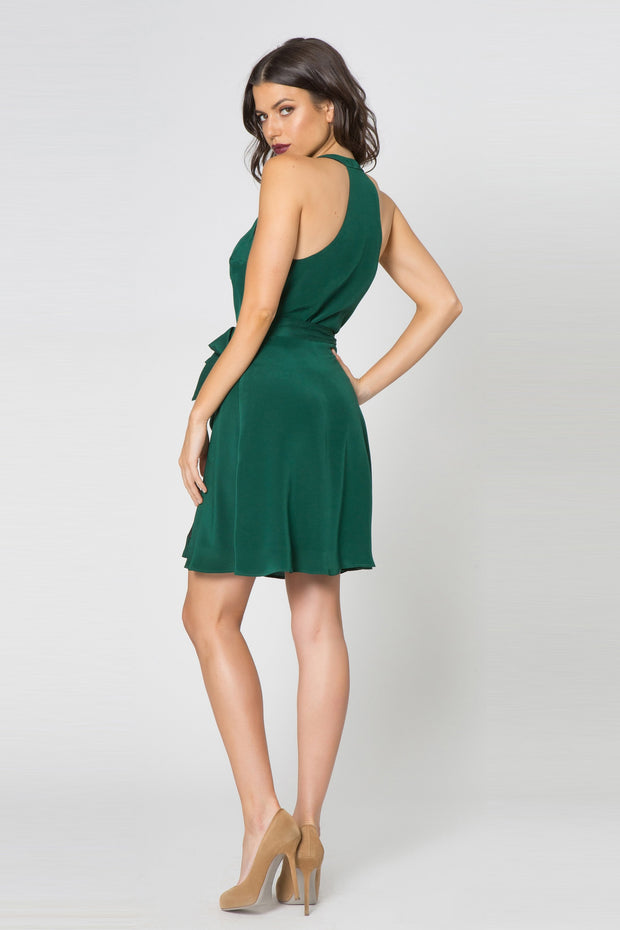 Hunter Green Silk Mini Wrap Dress by Lavender Brown 002