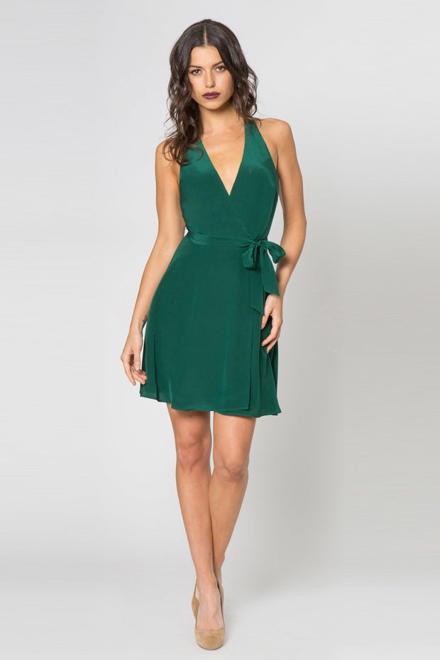 Hunter Green Silk Mini Wrap Dress by Lavender Brown 001