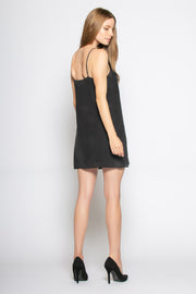 Black Backless Silk Slip Mini Dress by Lavender Brown 002