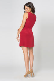 Crimson Sleeveless Silk Twist Mini Dress by Lavender Brown 002