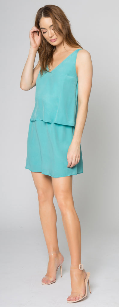 Aqua Backless Overlay Silk Dress by Lavender Brown 001