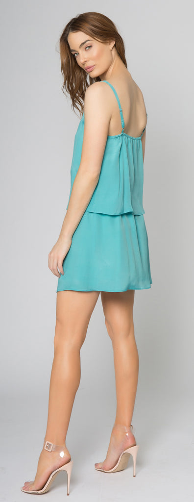 Aqua Backless Overlay Silk Dress by Lavender Brown 002