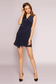 Ink Navy Silk Mini Wrap Dress by Lavender Brown 001