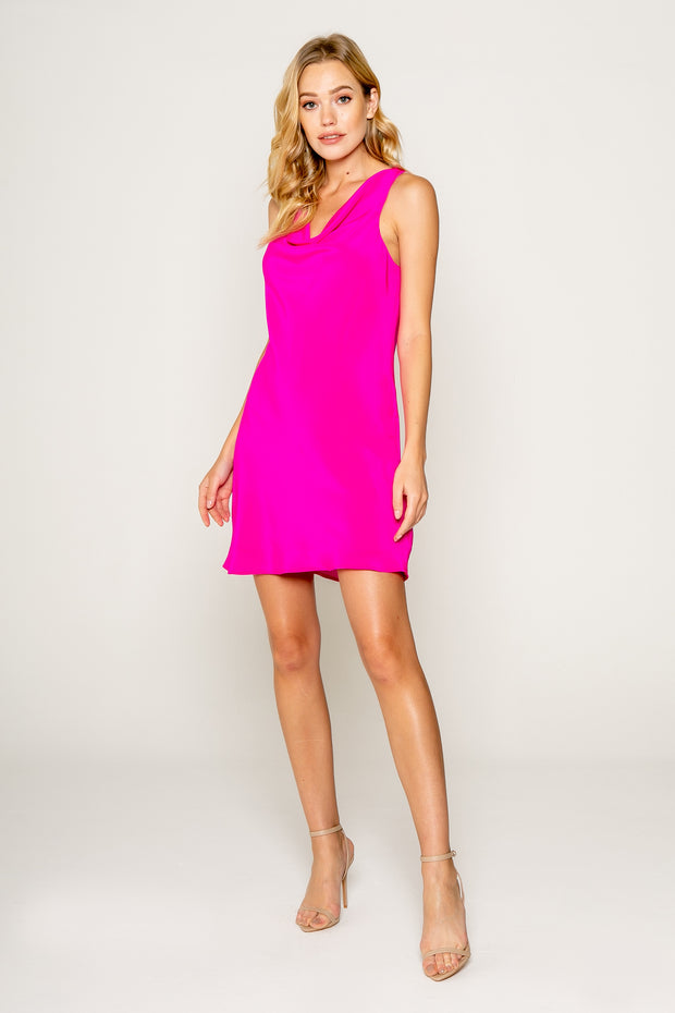 Silk Cowl Neck Bias Cut Dress