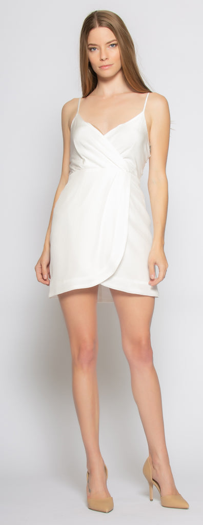 Ivory Backless Silk Mini Wrap Dress by Lavender Brown 001