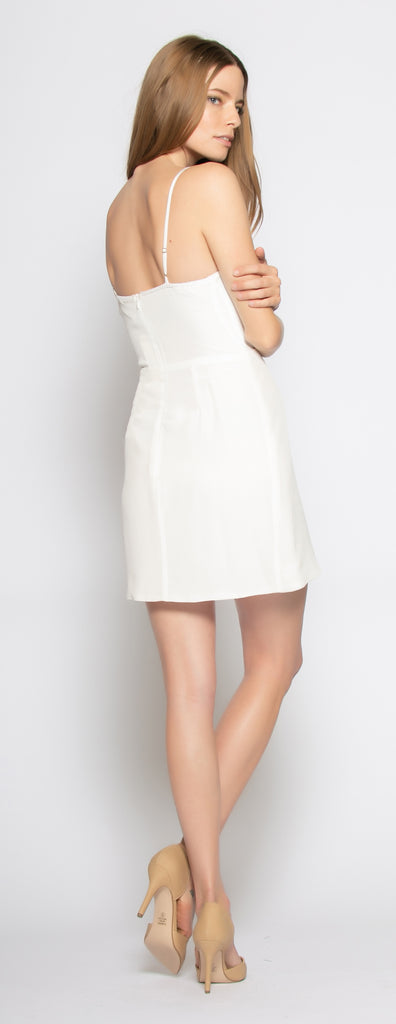 Ivory Backless Silk Mini Wrap Dress by Lavender Brown 002