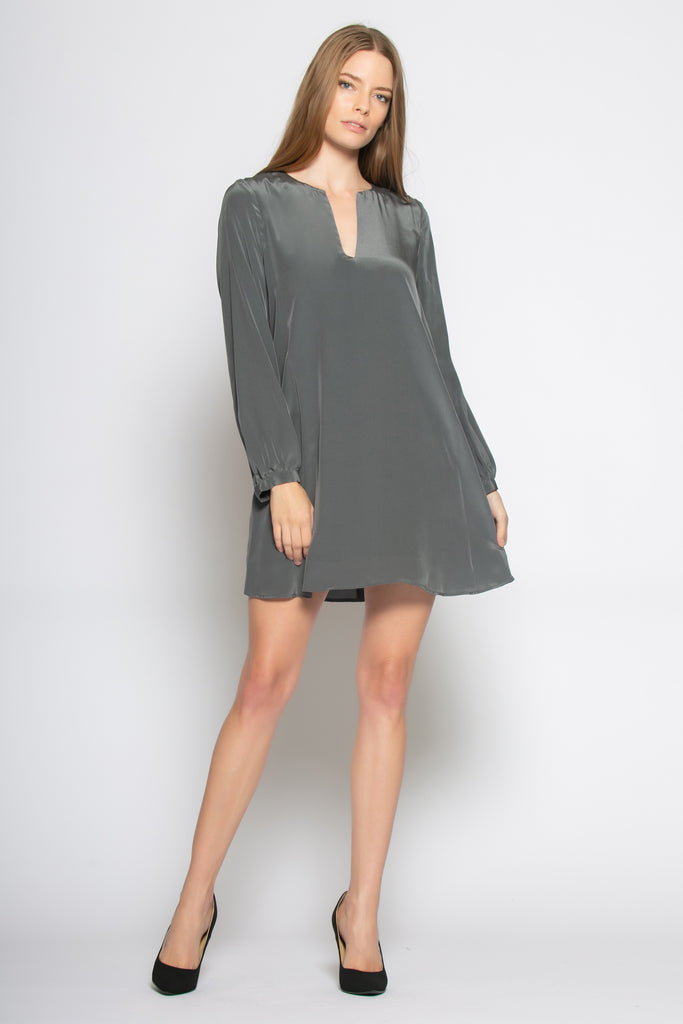 Charcoal Long Sleeve Silk Dress by Lavender Brown - 1