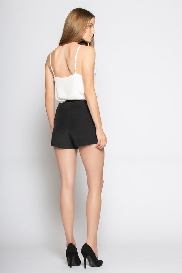 Black High Waist Silk Shorts by Lavender Brown 002