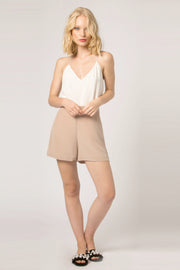 Khaki High Waist Silk Shorts by Lavender Brown 001