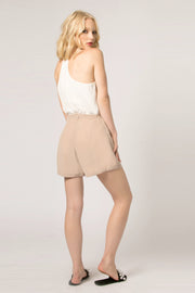 Khaki High Waist Silk Shorts by Lavender Brown 002