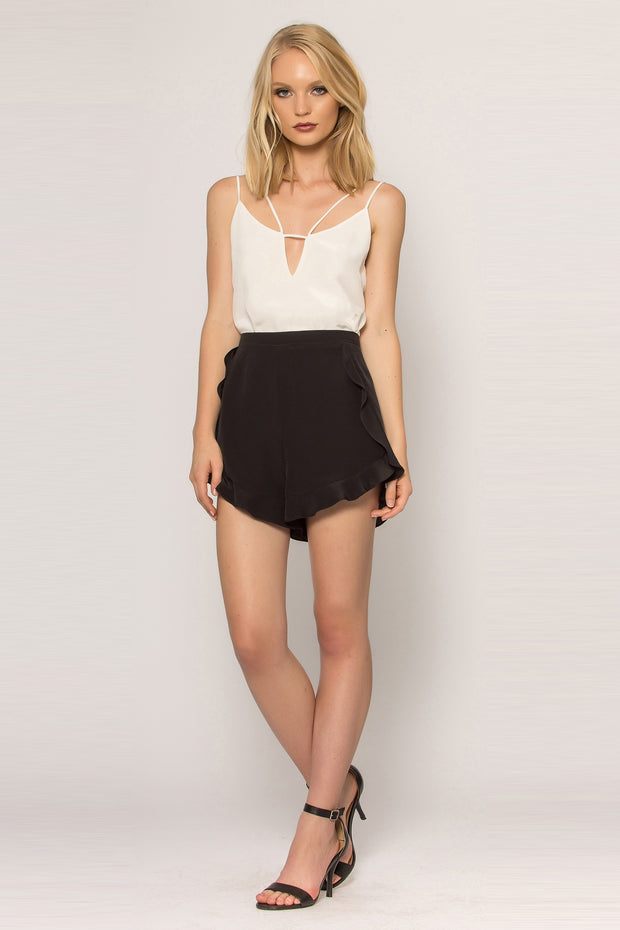 Black Ruffled Silk Shorts by Lavender Brown 001