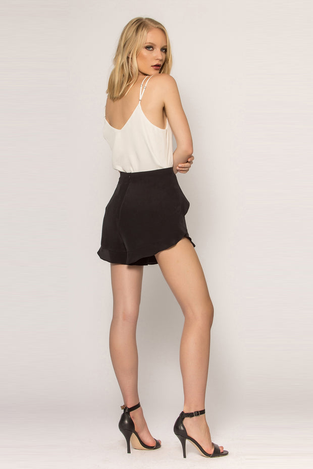 Black Ruffled Silk Shorts by Lavender Brown 002