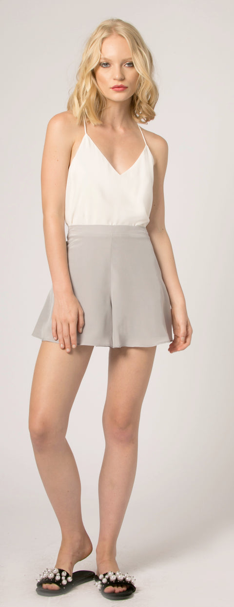 Silver High Waist Silk Shorts by Lavender Brown - 1