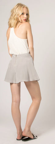 Silver High Waist Silk Shorts by Lavender Brown - 2