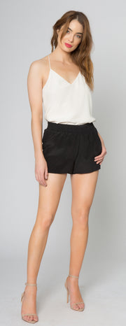Black Easy Fit Pull-On Silk Shorts by Lavender Brown - 2