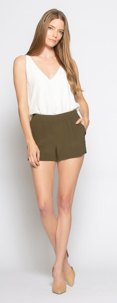 Olive Easy Fit Pull-On Silk Shorts by Lavender Brown - 1
