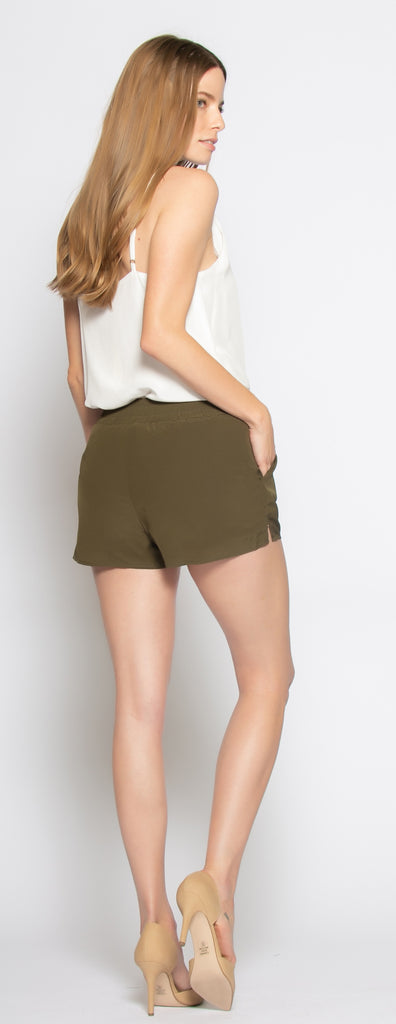 Olive Easy Fit Pull-On Silk Shorts by Lavender Brown - 2